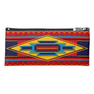 Abstract African Kente Cloth Pattern Red Yellow Pencil Case