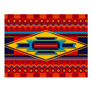 Abstract African Kente Cloth Pattern Red Yellow Postcard
