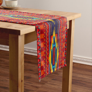 Abstract African Kente Cloth Pattern Red Yellow Short Table Runner