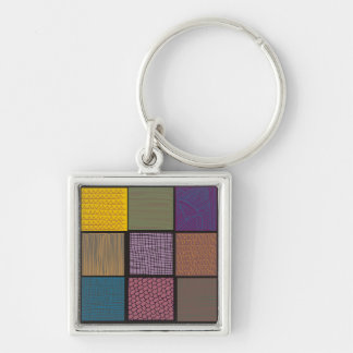 Abstract African quilt patchwork Silver-Colored Square Keychain