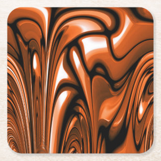 Abstract Amber Ocean Square Paper Coaster
