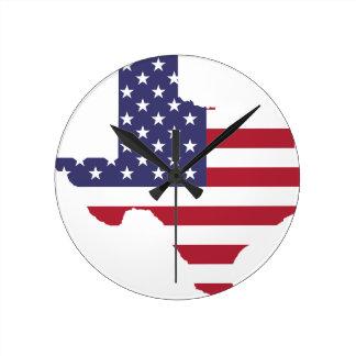 Abstract America Art Texas Round Clock