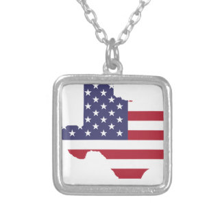 Abstract America Art Texas Silver Plated Necklace