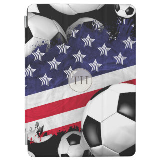 abstract American flag soccer balls monogrammed