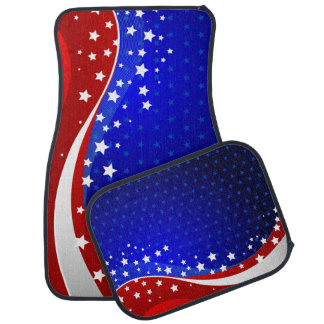 Abstract American Flag Stars & Stripes Auto Mat