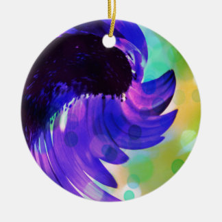 Abstract Amethyst Purple Sunflower Swirl Ceramic Ornament