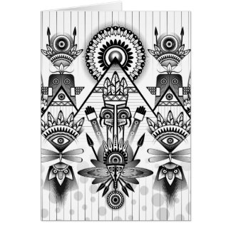 Abstract Ancient Native Indian Tribal Card