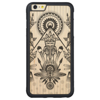 Abstract Ancient Native Indian Tribal Carved Maple iPhone 6 Plus Bumper Case