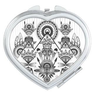 Abstract Ancient Native Indian Tribal Compact Mirror