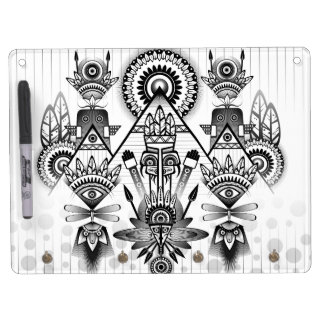 Abstract Ancient Native Indian Tribal Dry Erase Board With Keychain Holder