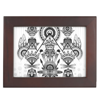 Abstract Ancient Native Indian Tribal Keepsake Box