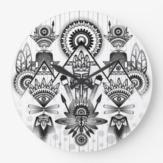Abstract Ancient Native Indian Tribal Large Clock