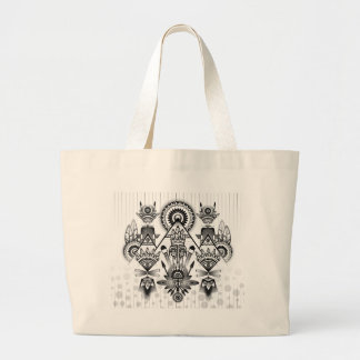 Abstract Ancient Native Indian Tribal Large Tote Bag