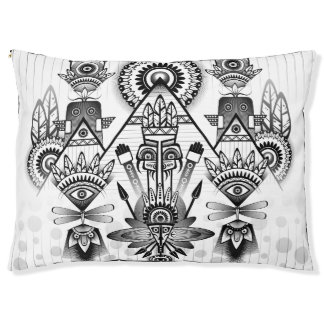Abstract Ancient Native Indian Tribal Pet Bed