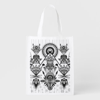 Abstract Ancient Native Indian Tribal Reusable Grocery Bag