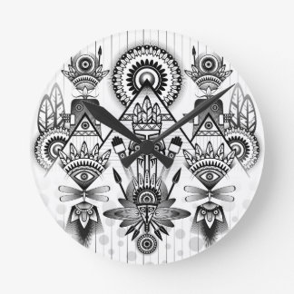Abstract Ancient Native Indian Tribal Round Clock