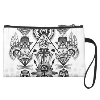 Abstract Ancient Native Indian Tribal Suede Wristlet