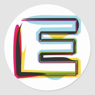 Abstract and colorful letter E Classic Round Sticker