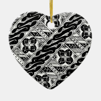 Abstract and Ornate Classical Pattern Ceramic Heart Ornament