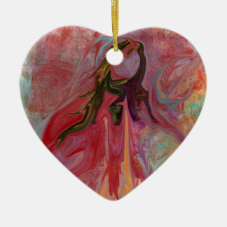 Abstract Angel in Pastels Ceramic Heart Ornament