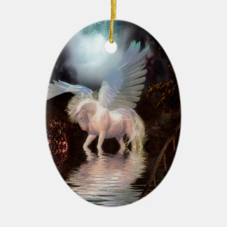 Abstract Angel White Horse Ceramic Oval Ornament