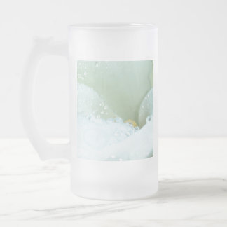 Abstract Angle Of A Calla Lily Flower With Dew And Frosted Glass Beer Mug