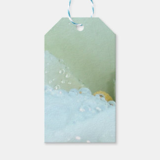 Abstract Angle Of A Calla Lily Flower With Dew And Pack Of Gift Tags