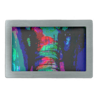 abstract  animal, ellephant, colourfull, cool rectangular belt buckle