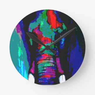 abstract  animal, ellephant, colourfull, cool round clock