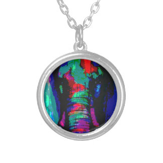 abstract  animal, ellephant, colourfull, cool silver plated necklace