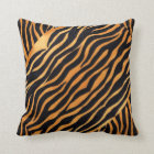 Abstract Animal Print Golden and Black Pillow