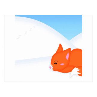 Abstract Animal Sleepy Fox Postcard