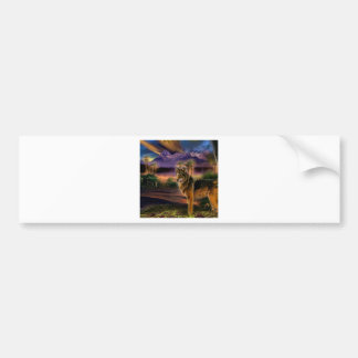 Abstract Animal Wolf Scene Bumper Stickers