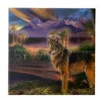 Abstract Animal Wolf Scene Tile