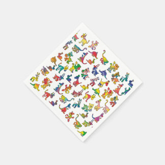 Abstract Animals Pattern Tiles Paper Napkin