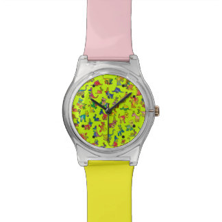 Abstract Animals Pattern Tiles Watch