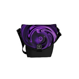 Abstract Anime in Purple N Black Messenger Bag