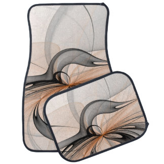 Abstract Anthracite Gray Sienna Shapes Fractal Art Car Mat