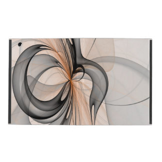 Abstract Anthracite Gray Sienna Shapes Fractal Art iPad Case