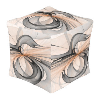 Abstract Anthracite Gray Sienna Shapes Fractal Art Pouf