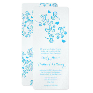 Abstract Aqua Blue Butterfly or Bumble Bee Wedding Card