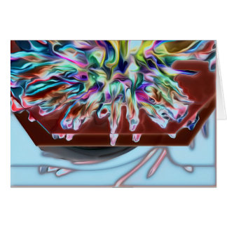 Abstract Aqua/Purple Blank Card w White Envelope