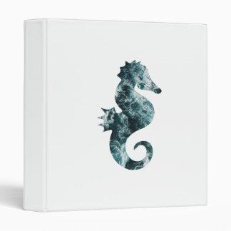 Abstract aqua seahorse 3 ring binder