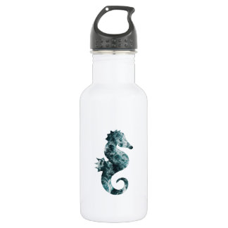 Abstract aqua seahorse 532 ml water bottle