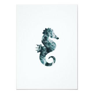 Abstract aqua seahorse card