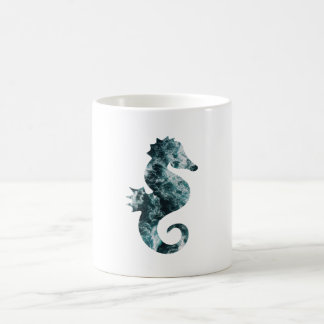 Abstract aqua seahorse coffee mug