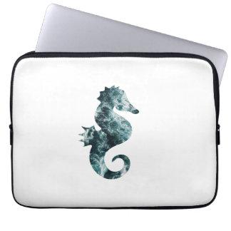 Abstract aqua seahorse laptop computer sleeves