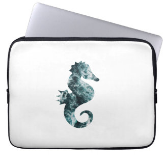 Abstract aqua seahorse laptop sleeve