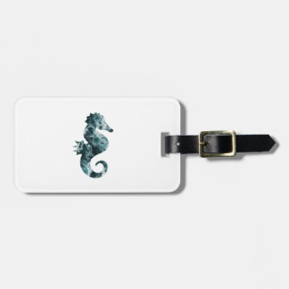 Abstract aqua seahorse luggage tag