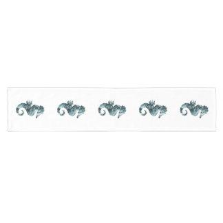 Abstract aqua seahorse short table runner